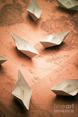 Small Paper Boats On Top Of Old Map Poster