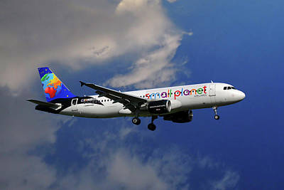 Small Planet Airbus A320-214 Poster