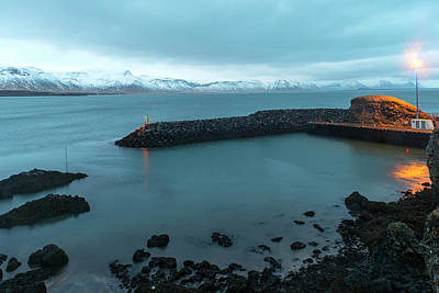 Poster featuring the photograph Small Port Near Snaefellsjokull Mountain, Iceland by Dubi Roman