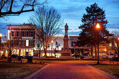 Small Town America Skyline - Downtown Bentonville Square  Poster