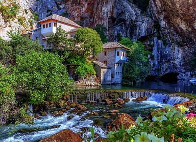 Small Village Blagaj On Buna Waterfall, Bosnia And Herzegovina Poster by Elenarts - Elena Duvernay photo