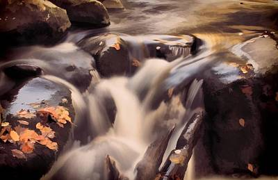 Small Waterfall In Autumn Poster