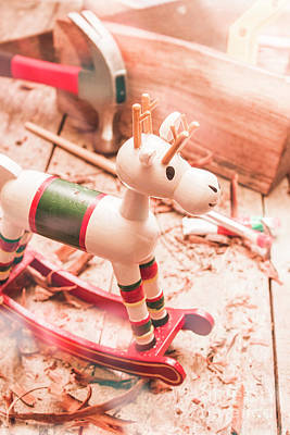 Small Xmas Reindeer On Wood Shavings In Workshop Poster