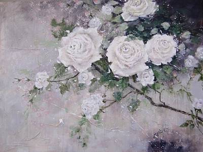 Poster featuring the painting Smell The Roses  by Laura Lee Zanghetti