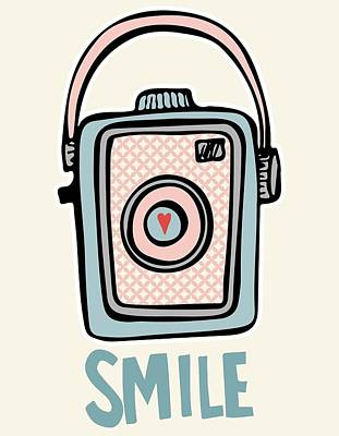 Smile - Vintage Camera Poster by Colleen VT