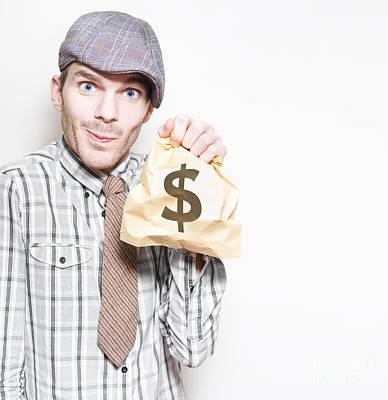 Smiling Businessman Holding Dollar Sign Money Bag Poster