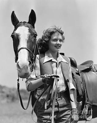 Smiling Cowgirl With Horse, C.1940s Poster