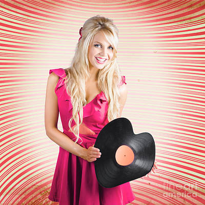 Smiling Dj Woman In Love With Retro Music Poster