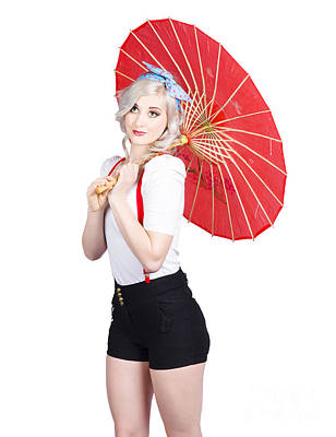Smiling Retro Woman Holding A Red Umbrella  Poster by Jorgo Photography - Wall Art Gallery