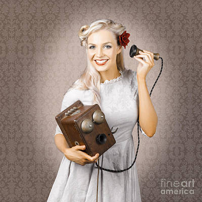 Smiling Vintage Woman Hearing Good News On Phone Poster