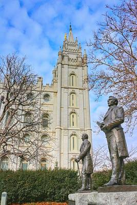 Smith Statues And Mormon Temple Poster by Buck Buchanan