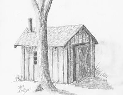 Poster featuring the drawing Smoke House by Jack G  Brauer