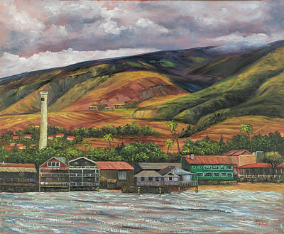 Poster featuring the painting Smokestack Lahaina Maui by Darice Machel McGuire