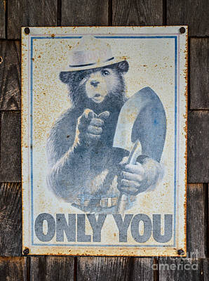 Smokey The Bear Vintage Sign Poster