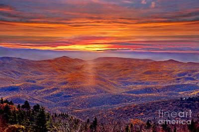 Smoky Mountain Sunrise Poster by Jeff McJunkin