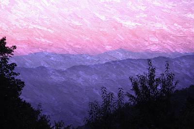 Smoky Mountains Sunrise Purple Oil Painting Poster