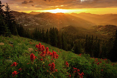 Smoky Wasatch Sunset Poster