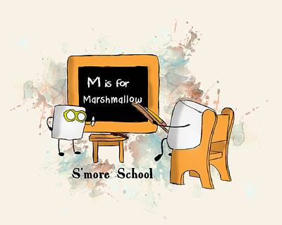 Poster featuring the digital art Smore School Illustrated by Heather Applegate