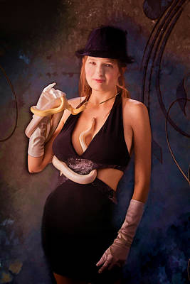 Snake Lady Or Girl With Live Snake Painting 5258.02 Poster