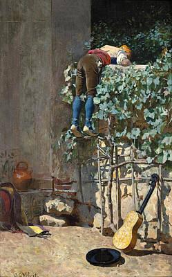 Sneaking A Peek Poster by Jehan Georges Vibert