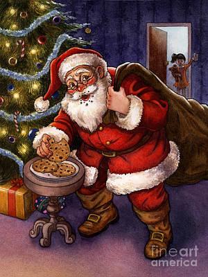 Sneaky Santa Poster by Isabella Kung