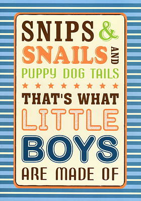 Snips And Snails Boys Nursery Art Poster by Desiderata Gallery