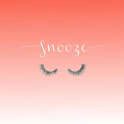 Snooze Coral Pillow Poster