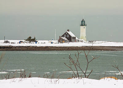 Snow At Scituate Lighthouse Poster