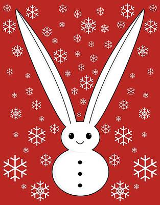 Snow Bunny And Snowflakes Red Poster