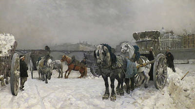 Snow Clearing By The Seine Poster by Christian Skredsvig