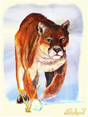 Poster featuring the painting Snow Cougar by Sherril Porter