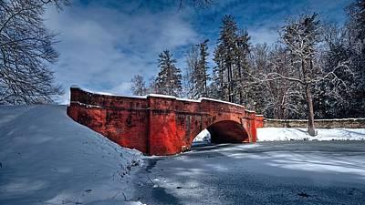 Snow Covered Bass Pond Bridge Poster by Carol R Montoya