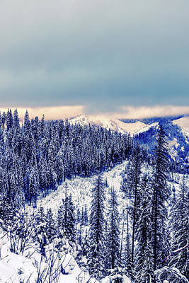 Snow Covered Mountains Poster