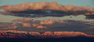 Poster featuring the photograph Snow Covered Red Rock Panorama by Ron Chilston