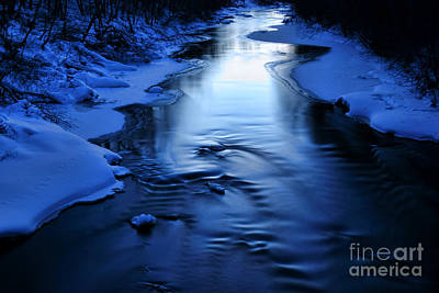 Snow Covered River On March Evening After Sunset Poster