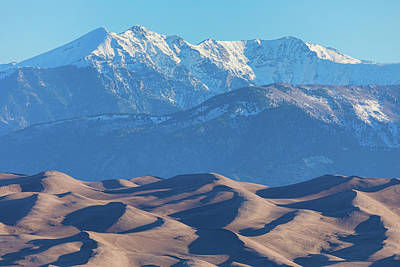 Snow Covered Rocky Mountain Peaks With Sand Dunes Poster by James BO Insogna