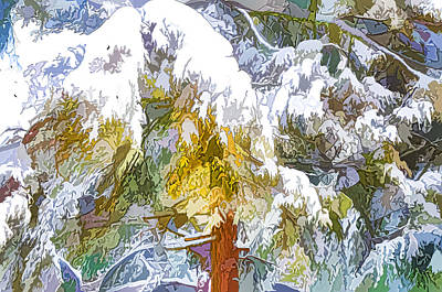 Snow-covered Tree Branch 1 Poster by Lanjee Chee