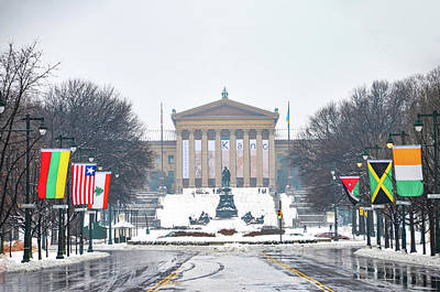 Snow Day At The Philadelphia Art Museum Poster by Bill Cannon