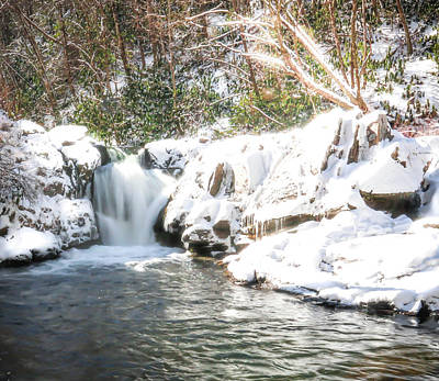 Snow Fall Waterfall Poster by Lisa Bell