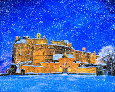 Snow Falling On Edinburgh Castle Poster