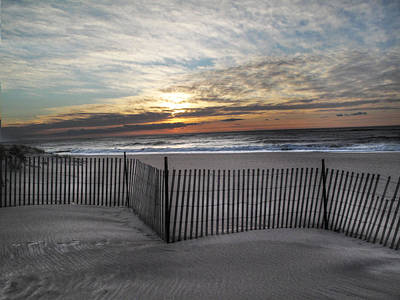 Snow Fence At Coopers Beach Poster by Steve Gravano