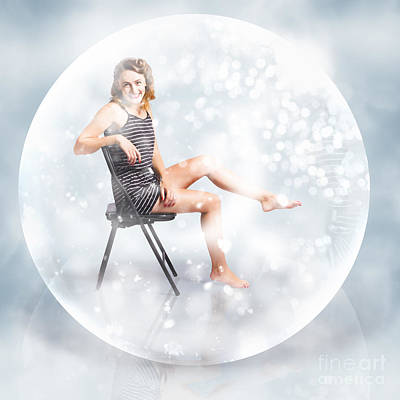 Snow Globe Pin Up Girl Poster