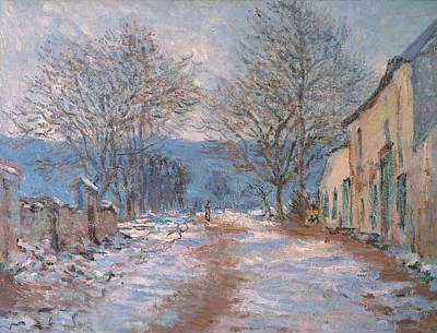 Snow In Limetz   Effet De Neige A Limetz Poster by Claude Monet