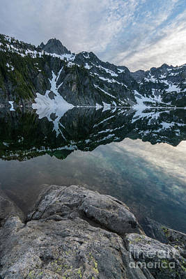 Snow Lake Chair Peak Dusk Reflection Poster by Mike Reid
