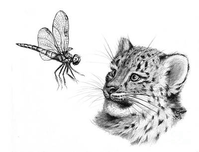 Snow Leoard Cub And Dragonfly G148 Poster