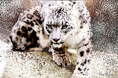 Poster featuring the digital art Snow Leopard by Barry Jones