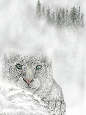 Poster featuring the digital art Snow Leopard by Darren Cannell