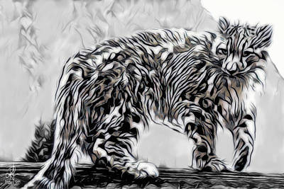 Poster featuring the digital art Snow Leopard by Pennie McCracken