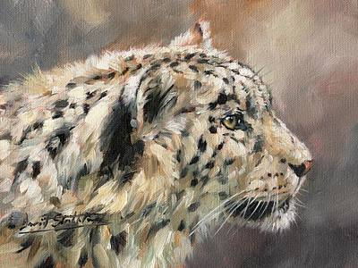 Poster featuring the painting Snow Leopard Study by David Stribbling