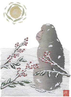 Snow Monkey And Sunrise  Poster by Keiko Suzuki